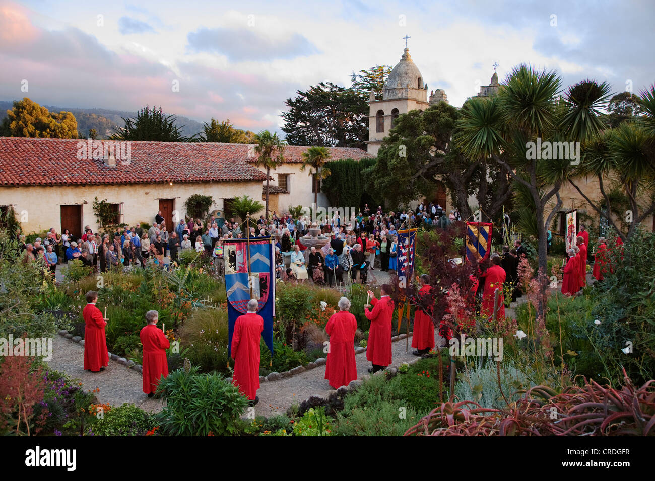 Church members carry banners while musicians play classical music during the CARMEL BACH FESTIVAL, USA, California, - Stock Image