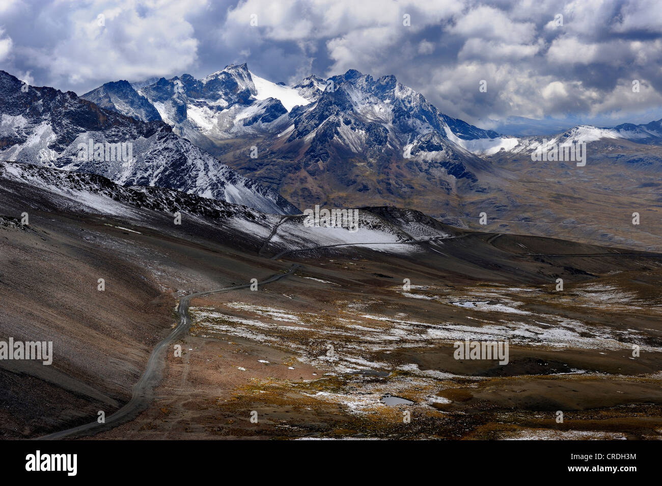 High mountain road with the Andes Mountains, La Paz, Bolivia, South America - Stock Image