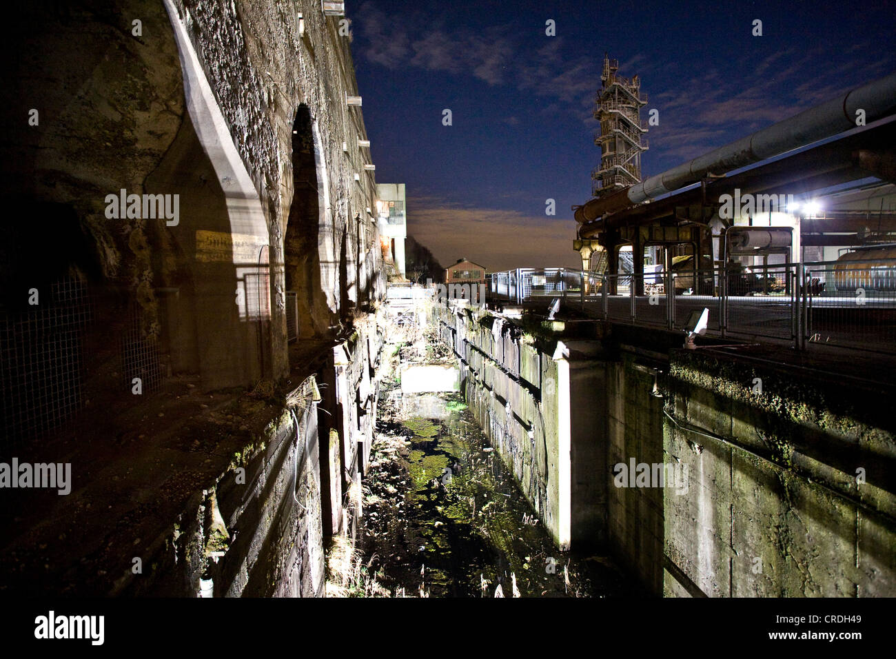 steelwork Henrichshuette at night, Germany, North Rhine-Westphalia, Ruhr Area, Hattingen - Stock Image