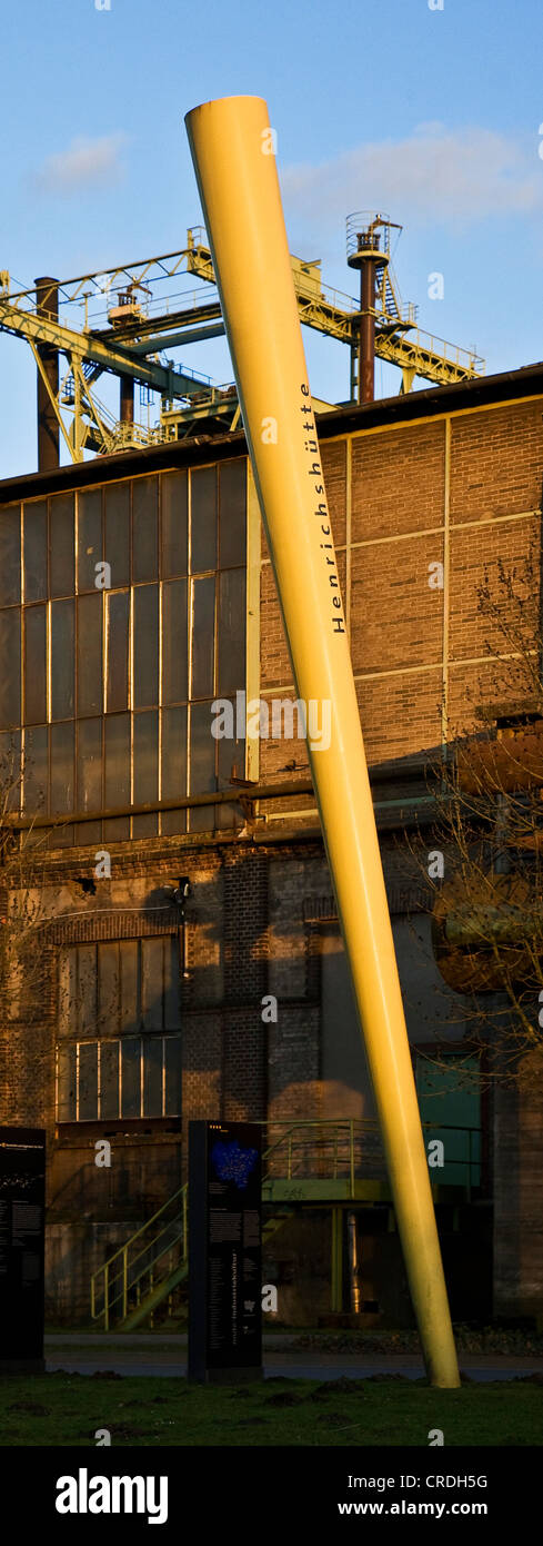 steelwork Henrichshuette with the yellow sign of the route of industral culture, Germany, North Rhine-Westphalia, - Stock Image