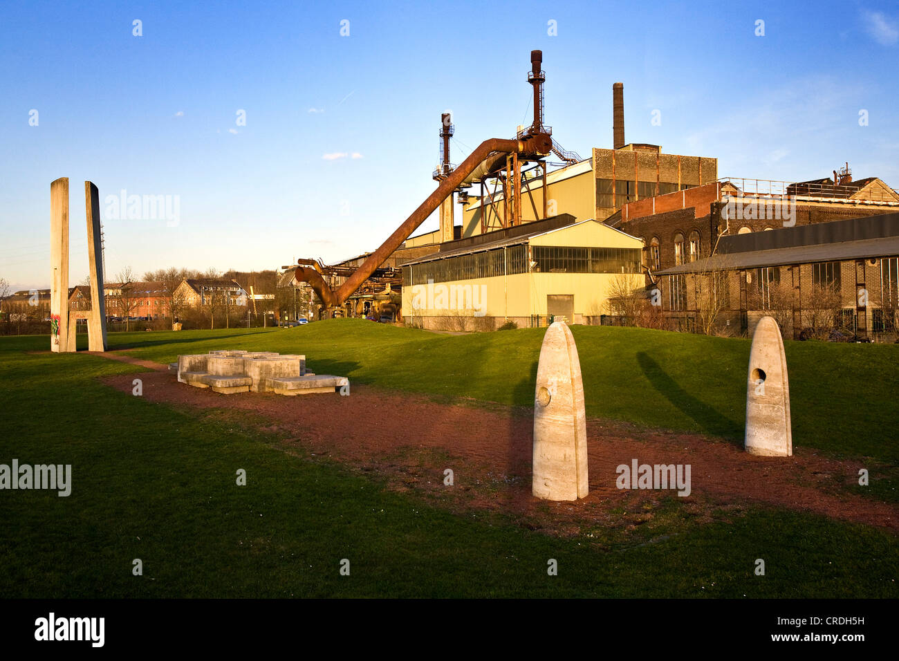steelwork Henrichshuette with the sculpture garden in the foreground, Germany, North Rhine-Westphalia, Ruhr Area, - Stock Image