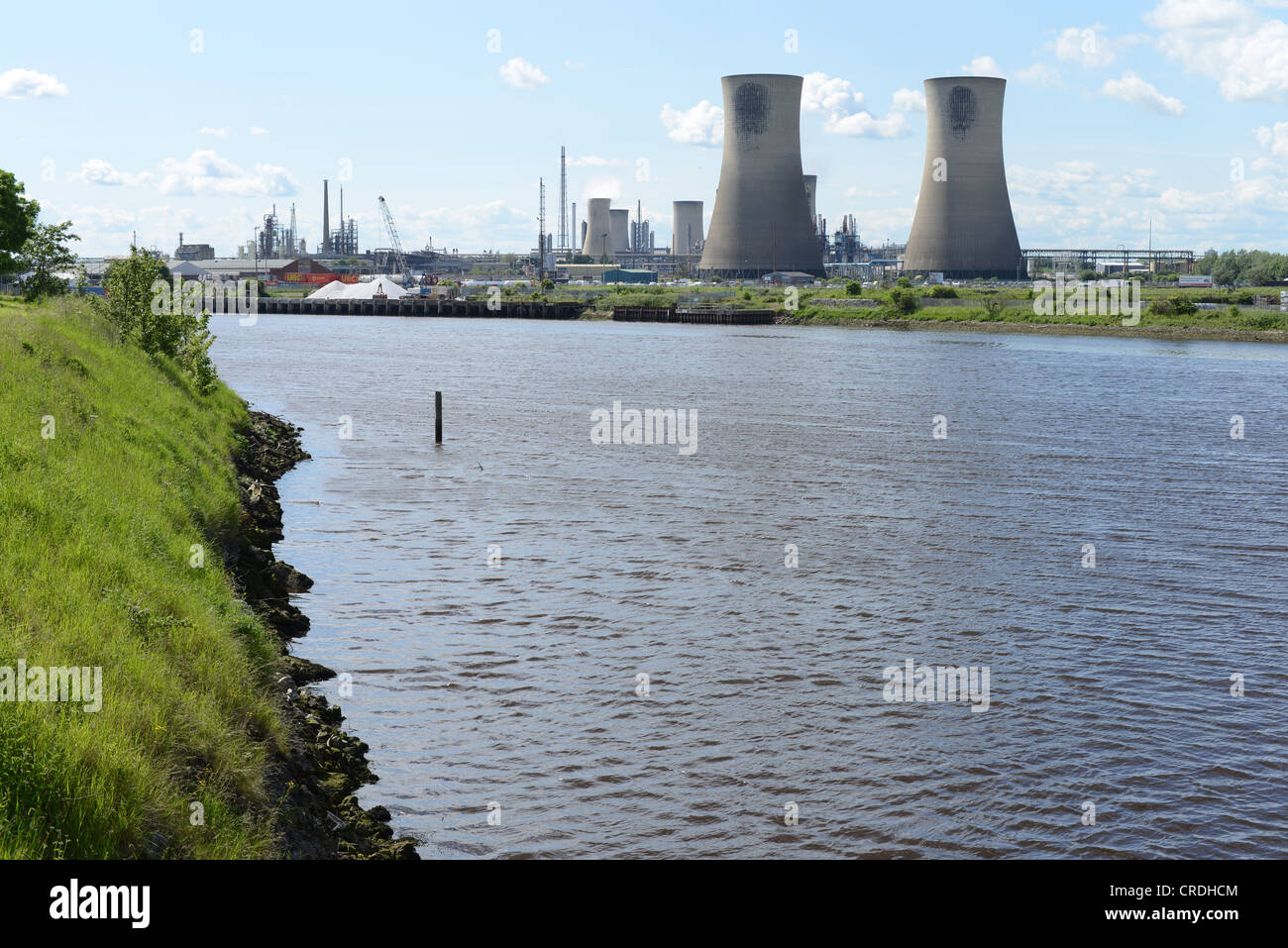 Cooling towers on the Billingham chemical works, Cleveland. Taken on a bright sunny day - Stock Image