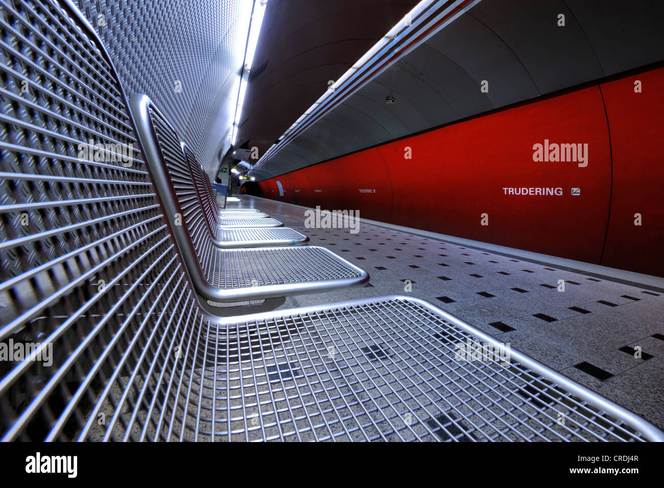 Seats, Munich U-Bahn station, metro station, Munich, Bavaria, Germany, Europe - Stock Image