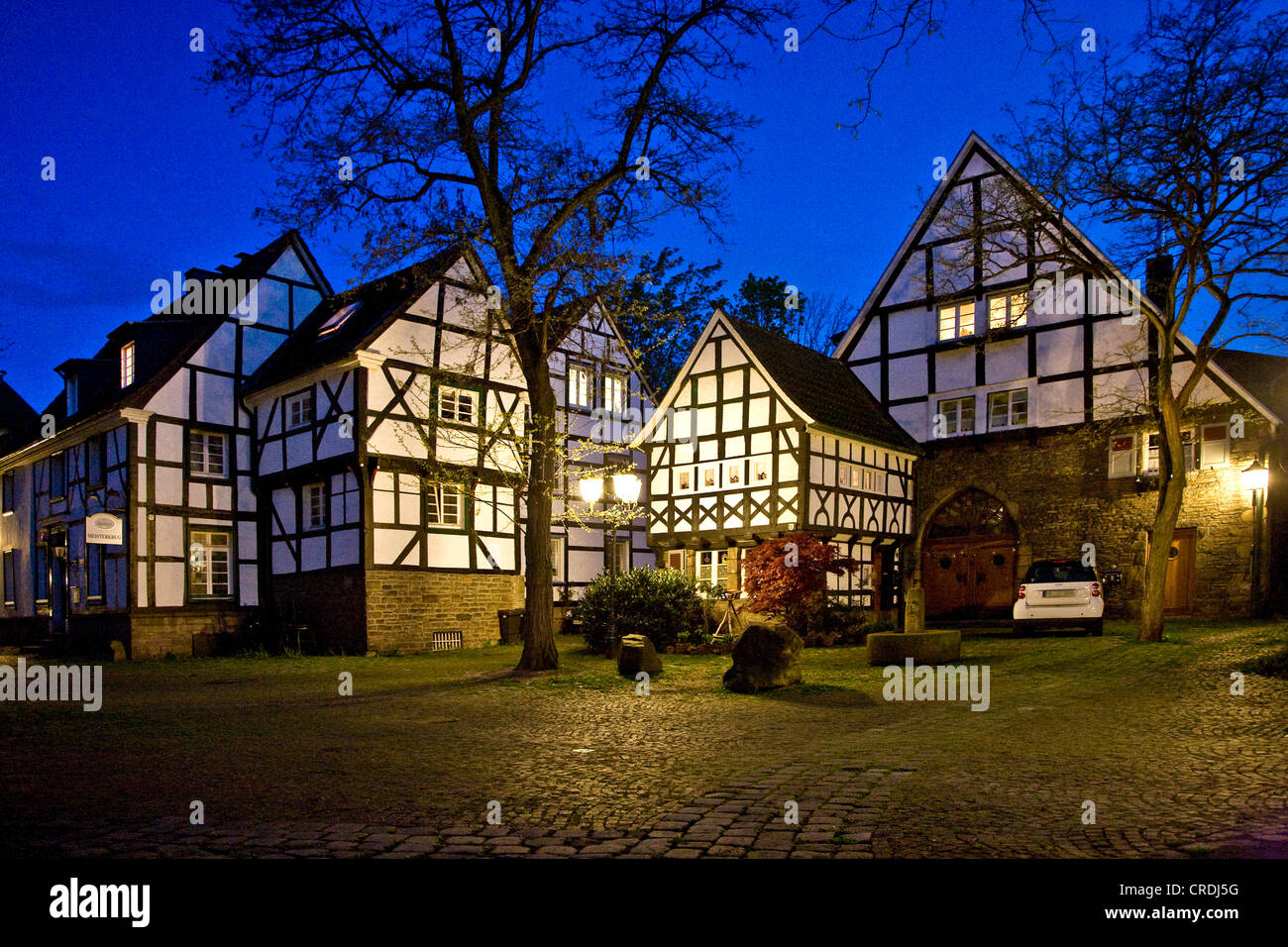 timbered houses of Fuenf Giebel Eck (five roofs coner), Germany, North Rhine-Westphalia, Ruhr Area, Wetter/Ruhr Stock Photo
