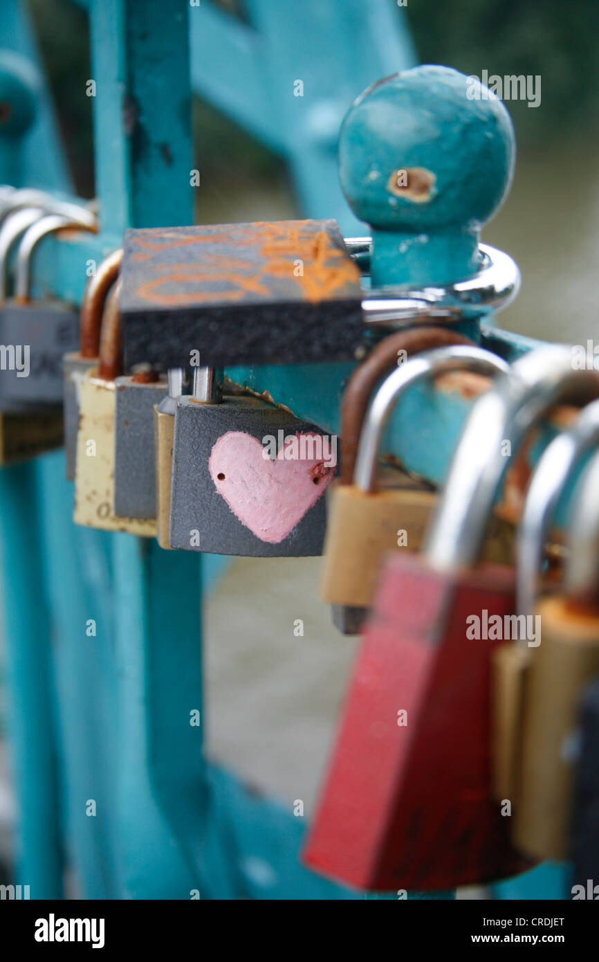 Padlocks of couples in love in Breslau, Wroclaw, Poland, Europe - Stock Image