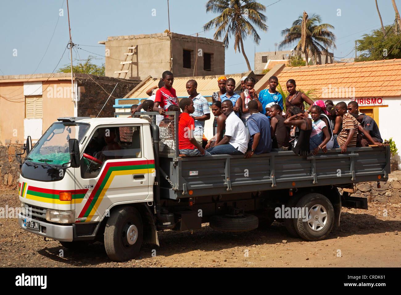 vehicle with several natives, Cap Verde Islands, Cabo Verde, island Santiago - Stock Image