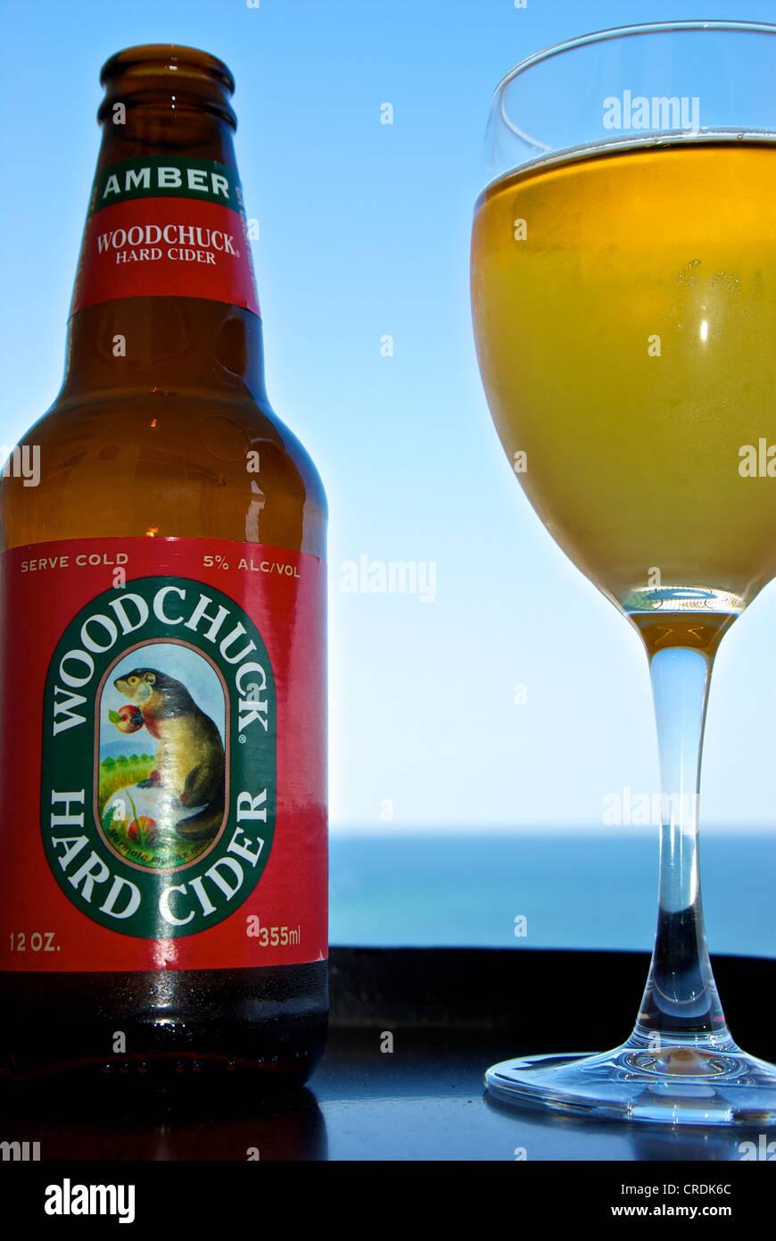 Frosty glass Woodchuck hard apple cider - Stock Image
