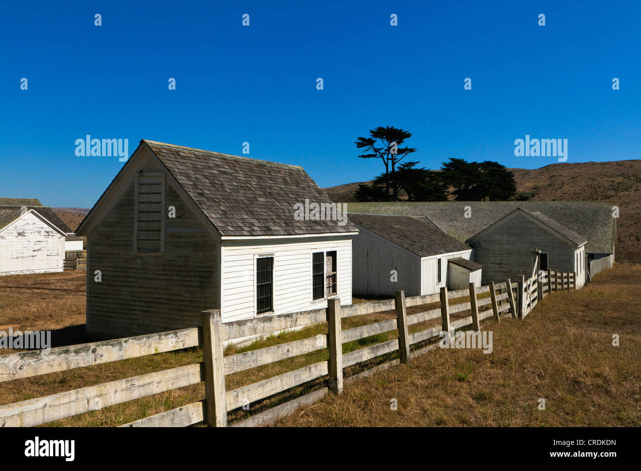 Old abandoned farm preserved as an open-air museum in Point Reyes National Seashore, Point Reyes, California, USA, - Stock Image