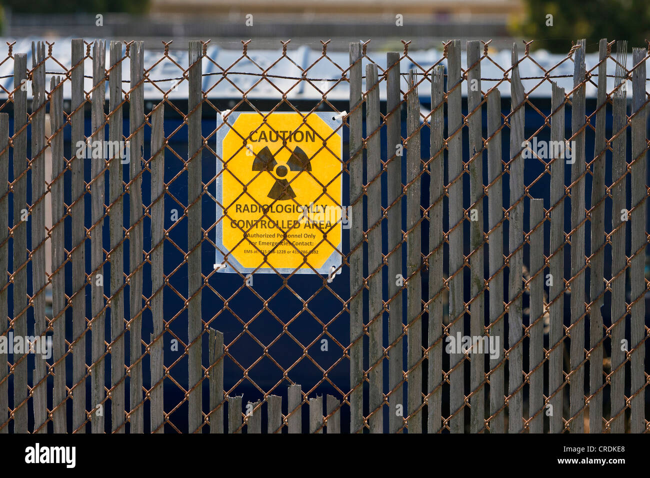 Sign warning of radioactive contamination on Treasure Island, an artificial island from the 1930's, used by - Stock Image