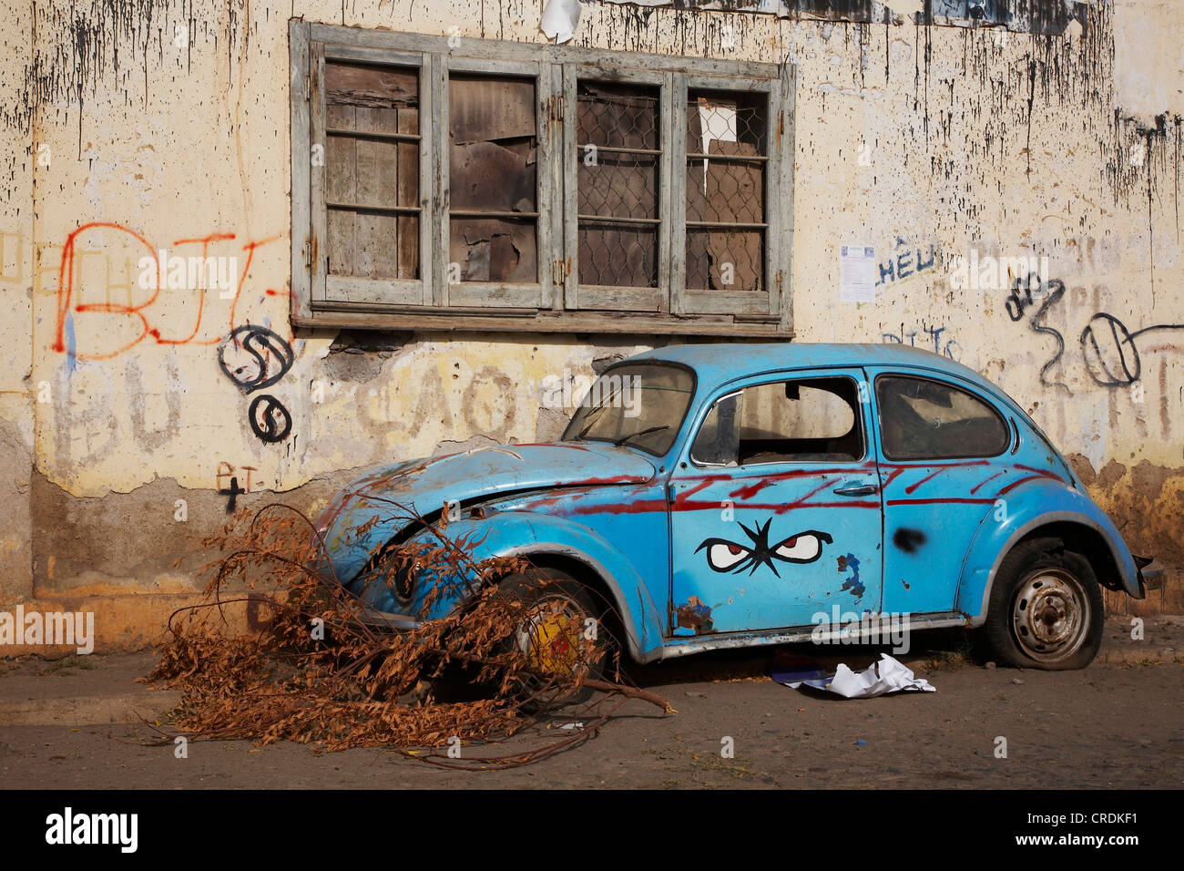 car wreck, Cap Verde Islands, Cabo Verde, Tarrafal - Stock Image