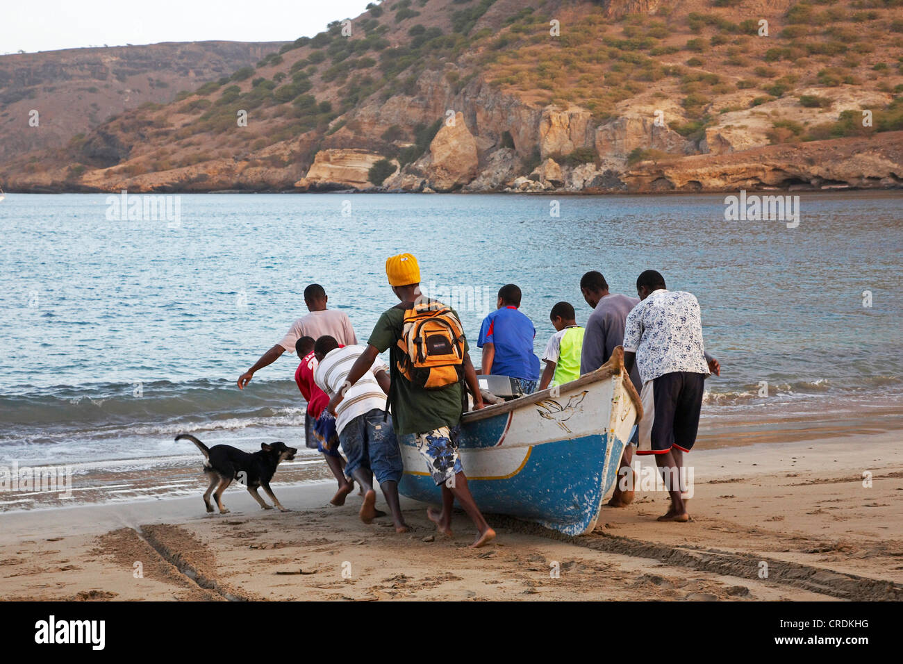 fishermen are going out in the morning, Cap Verde Islands, Cabo Verde, Tarrafal - Stock Image