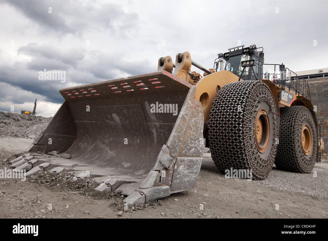 Caterpillar 994F front end loader in the Aitik copper mine of Boliden AB, about 20 km southeast of the town of Gaellivare - Stock Image