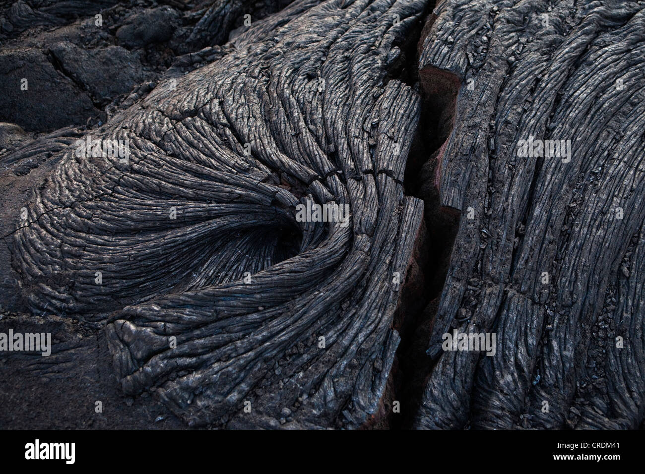 Solidified ropy pahoehoe type lava in Hawai'i Volcanoes National Park, Hawai'i, USA - Stock Image