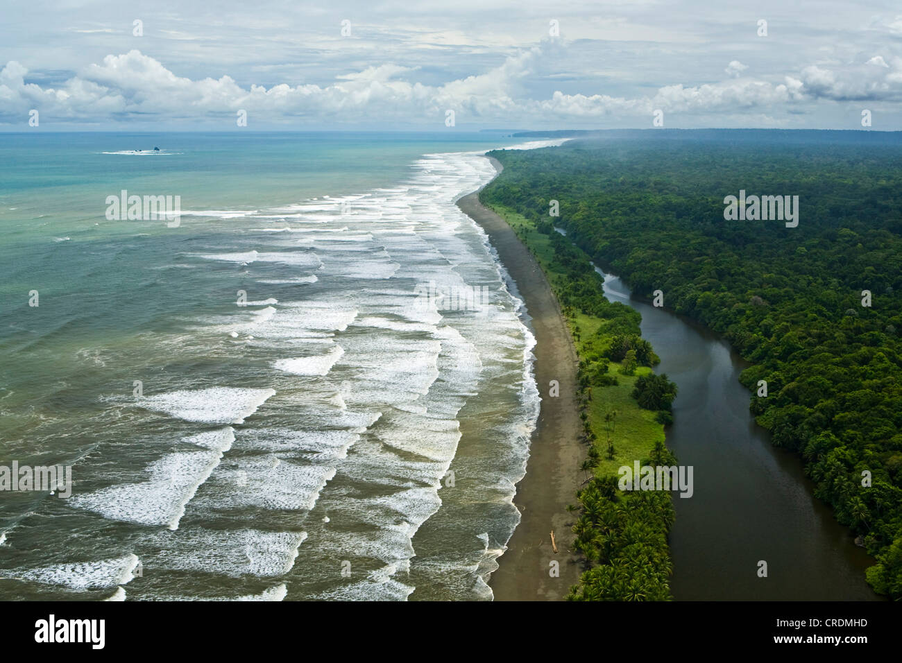 Aerial view, Pacific coast at the Corcovado National Park on the Osa Peninsula, Puerto Jimenez, Coasta Rica, Central - Stock Image