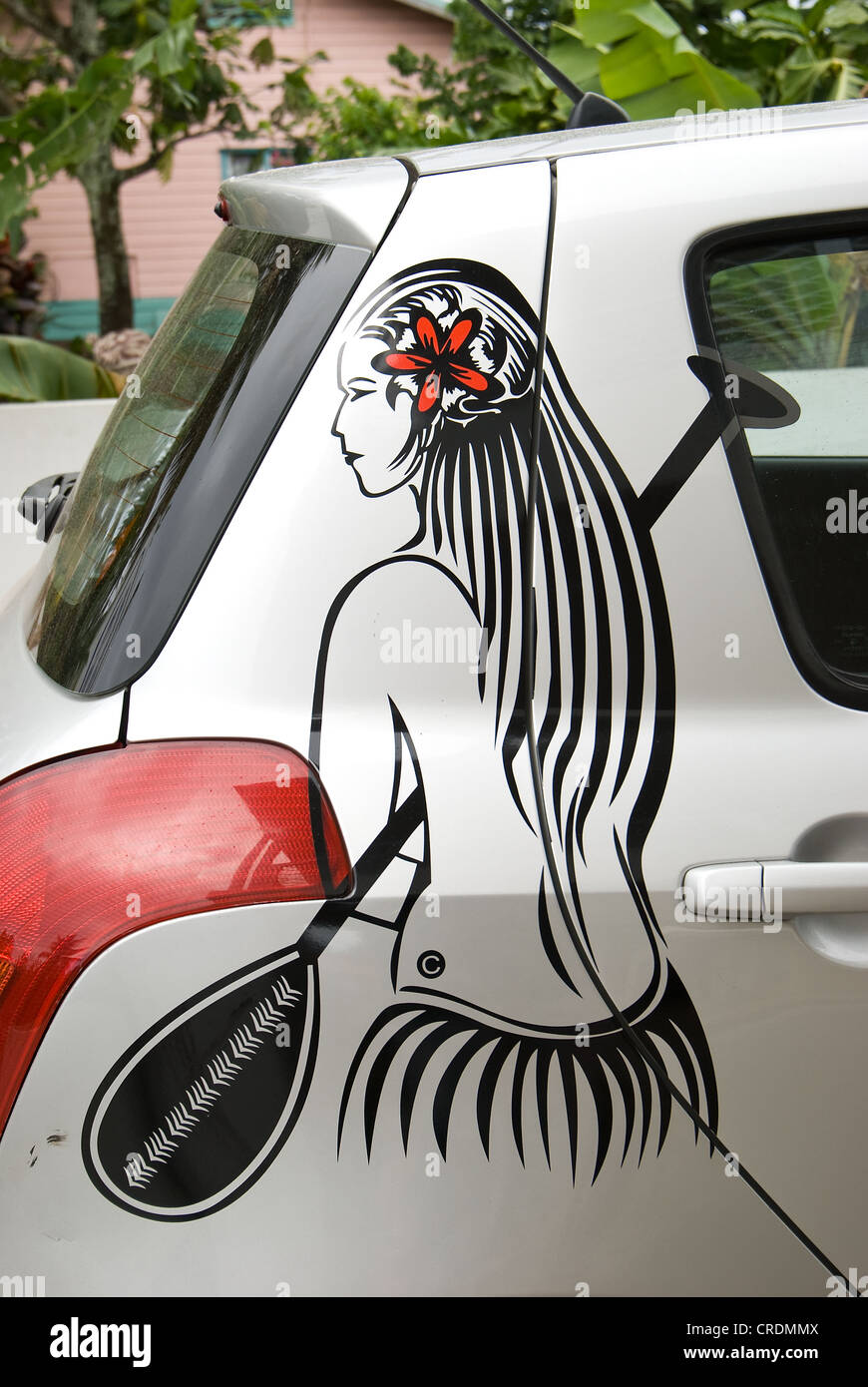 graphic art on car rarotonga cook islands - Stock Image