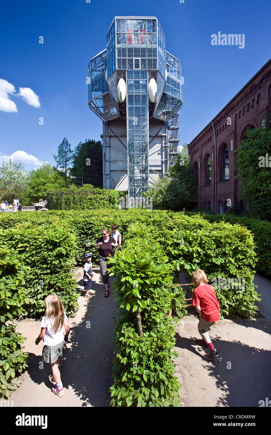 the glass elephant and the labyrinth in the Maximilianpark, Germany, North Rhine-Westphalia, Ruhr Area, Hamm Stock Photo