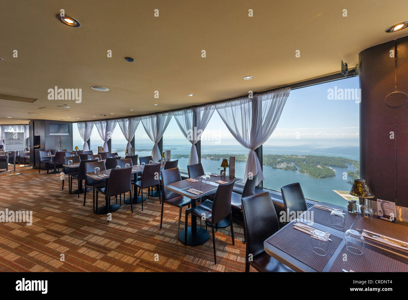 View over Lake Ontario from the Horizons Restaurant on the Lookout Level at the top of the CN Tower, Toronto, Ontario, - Stock Image