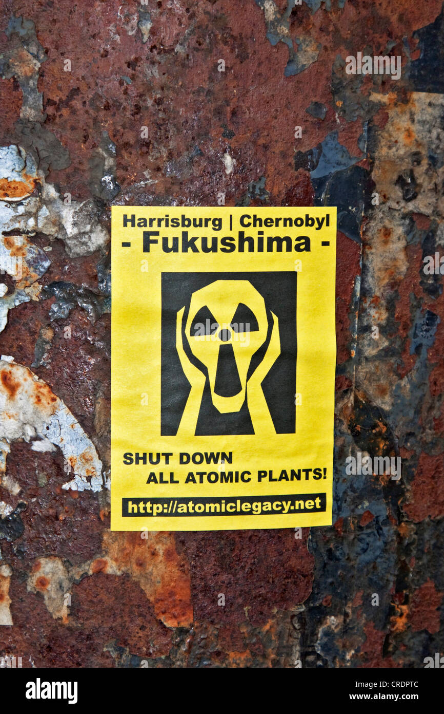 Sticker, Harrisburg, Chernobyl, Fukushima, 'shut down all atomic plants', Riga, Latvia, Europe - Stock Image