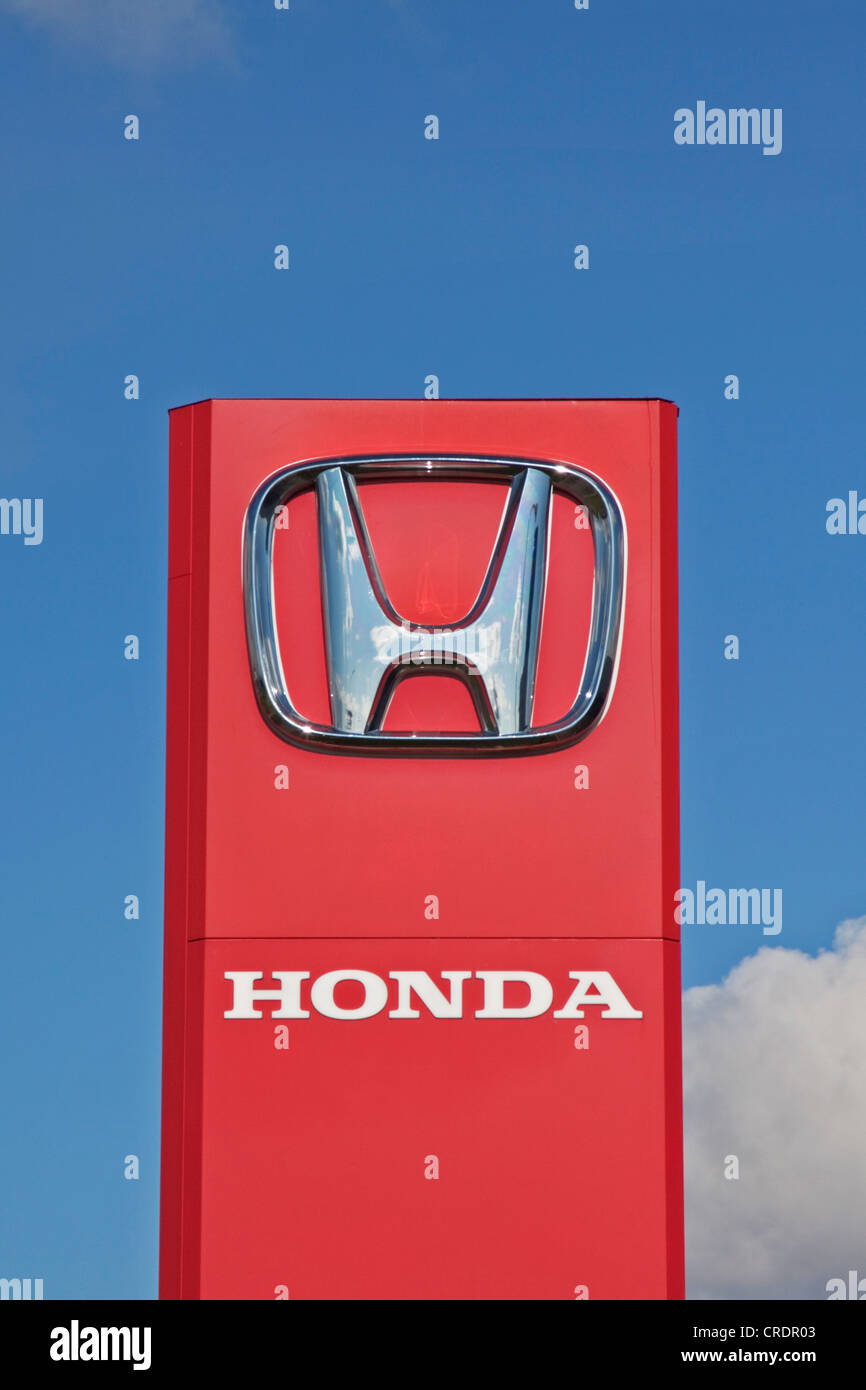 Signage, Honda logo, Japanese manufacturer of automobiles, motorcycles, outboard motors, micro CHP systems, Riga, - Stock Image