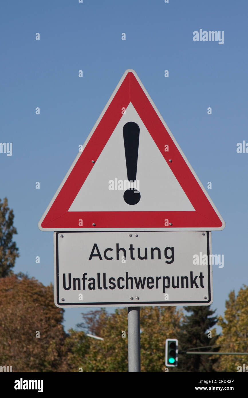 Traffic signs, Achtung Unfallschwerpunkt, German for Warning accident prone area - Stock Image
