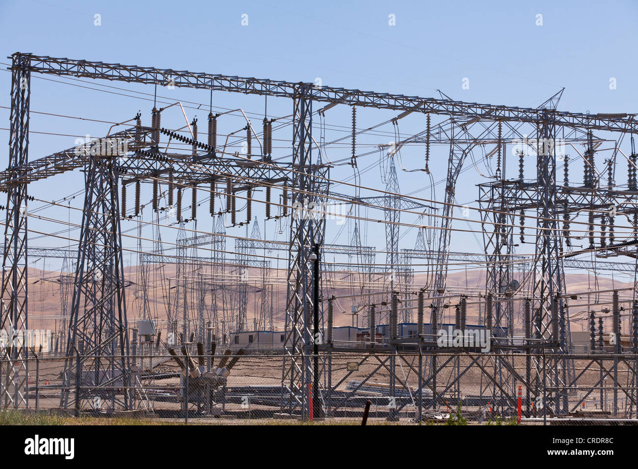 Electric substation wires and pylons - California USA - Stock Image