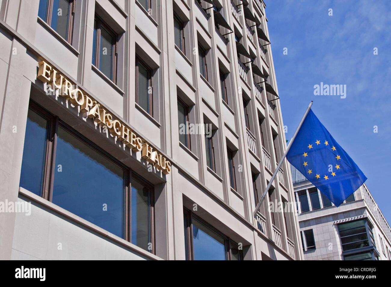 European House Berlin, information office of the European Parliament, European flag, at the Brandenburg Gate, Berlin - Stock Image