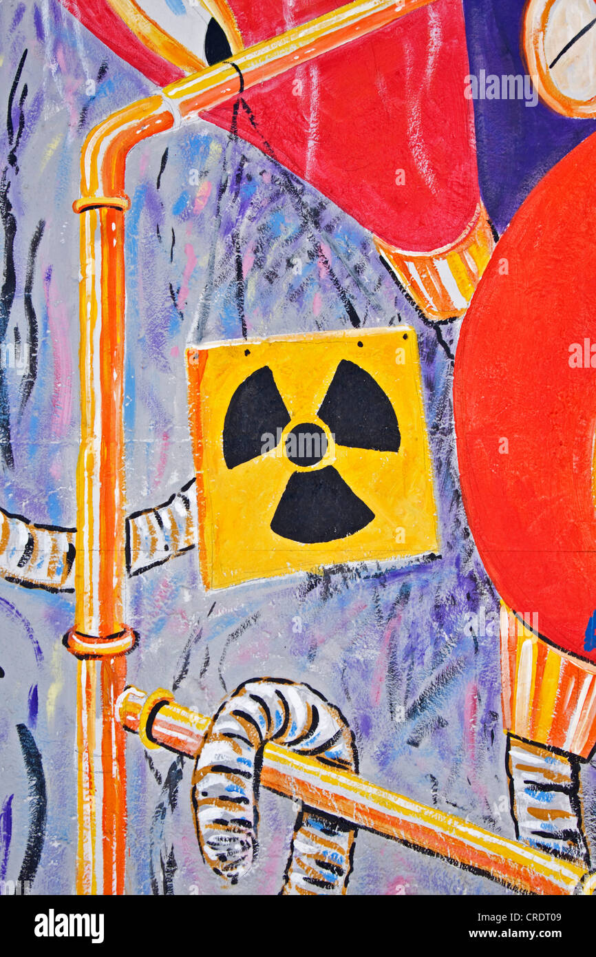 Painting Mural Symbol For Radioactivity Berlin Wall East Side