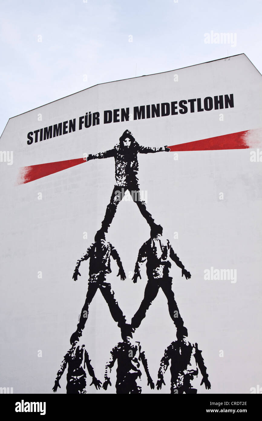 Mural, Stimmen fuer den Mindestlohn or votes for the minimum wage, Berlin, Germany, Europe - Stock Image