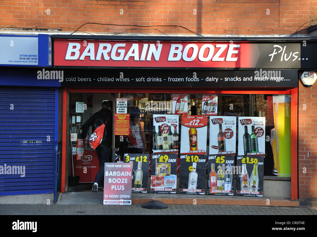 Bargain Booze off-licence, Wigston, Leicester, England, UK - Stock Image