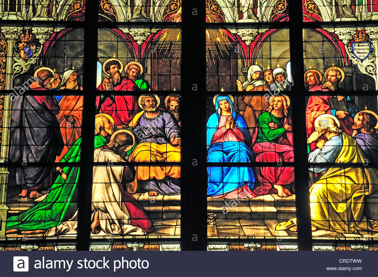 Pentecost Window showing the descent of the Holy Spirit on the day of Pentecost, Cathedral of Cologne, North Rhine - Stock Image