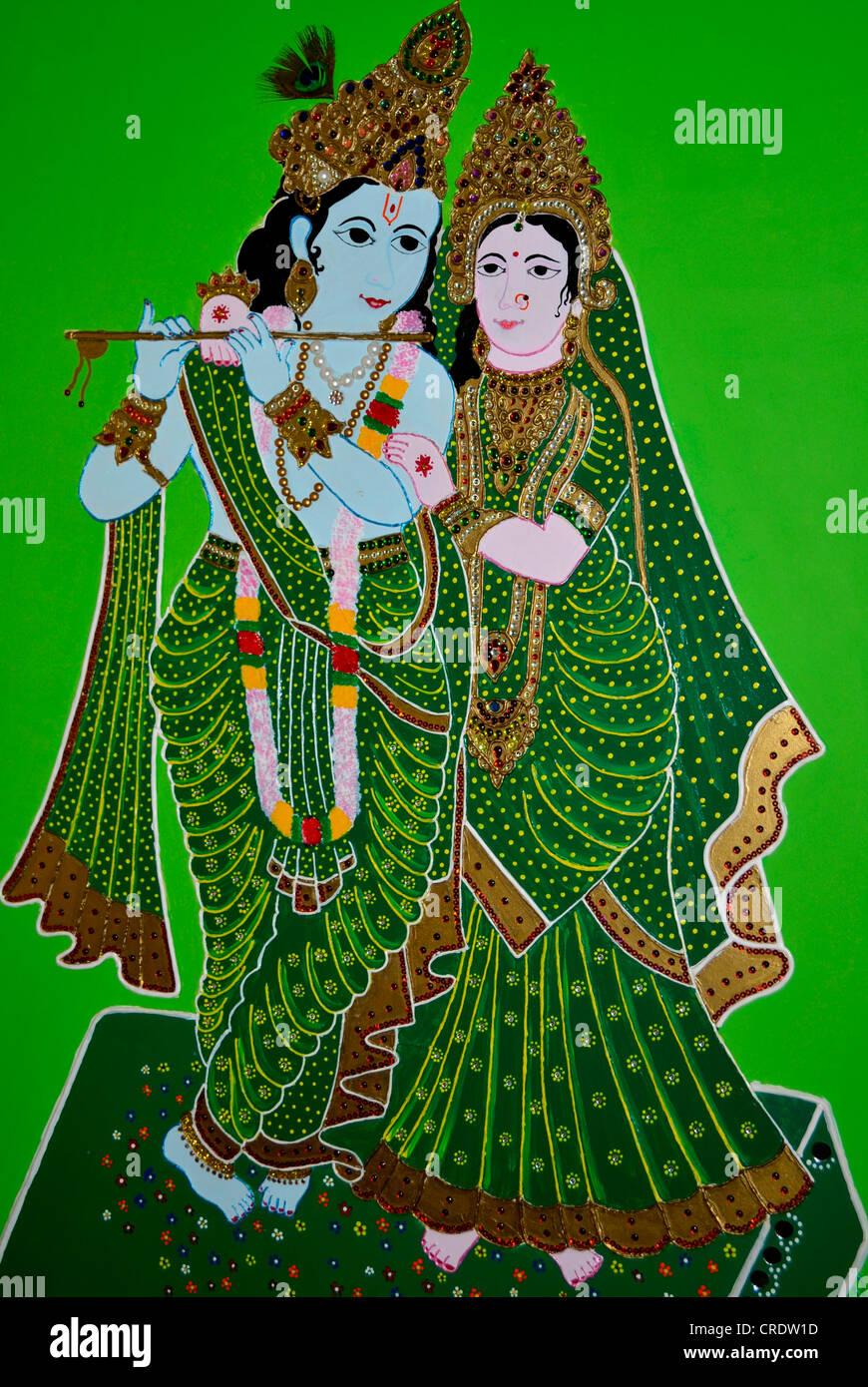 Lord Krishna and Radha - a photograph of mud art from Kutch, Gujarat,india - Stock Image