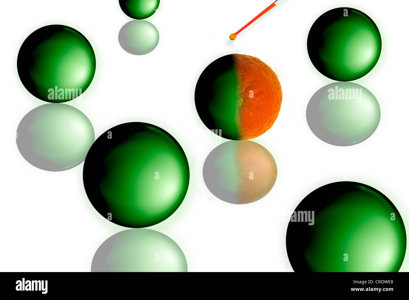 Droplet from a pipette hitting sphere and turning it into an orange - Stock Image