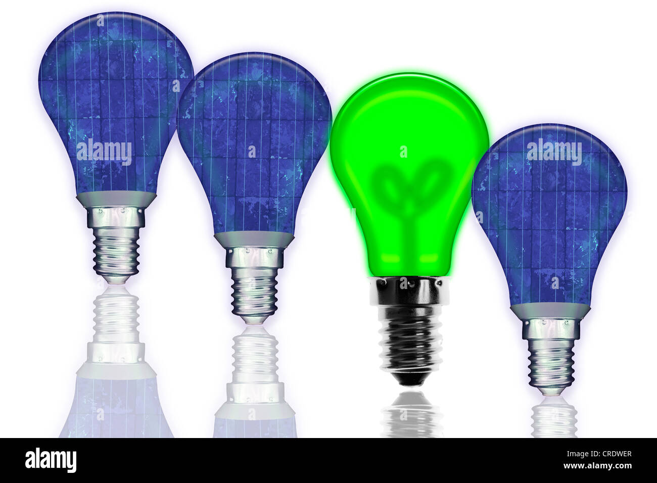 Light bulbs with solar panels or green illumination - Stock Image