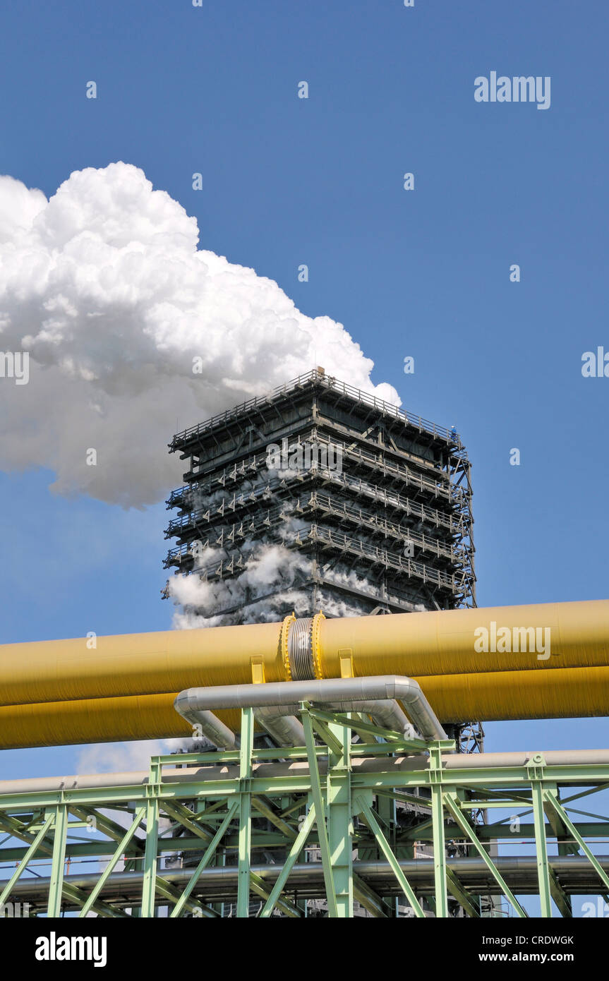 Southern wet quenching tower, Kokerei Schwelgern, coking plant, ThyssenKrupp Steel works in Hamborn, Duisburg - Stock Image