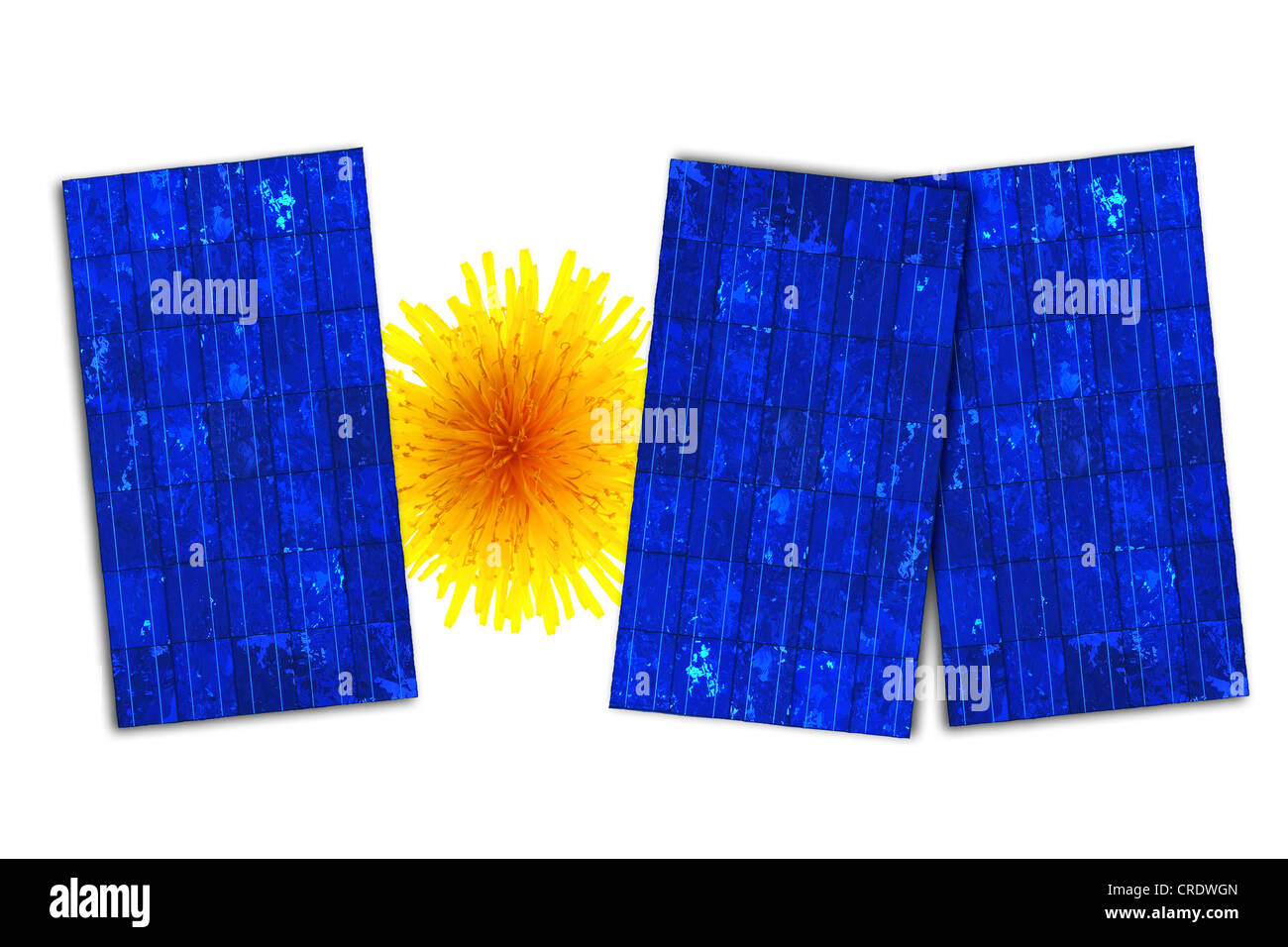 Solar panels with flower depicting the sun - Stock Image