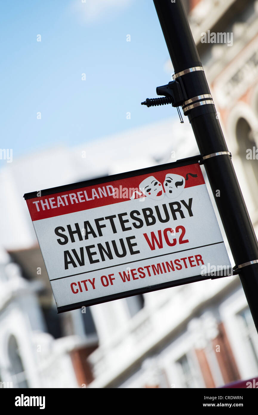 Shaftesbury Avenue street sign. London, England - Stock Image