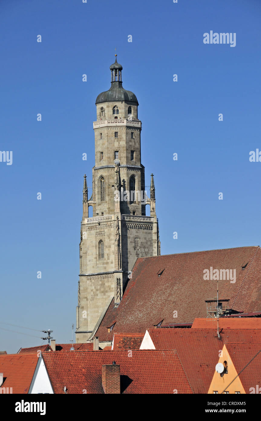 Protestant Church of St. George with the 89.5 m high church steeple, also known as Daniel tower, Noerdlingen, Donau - Stock Image