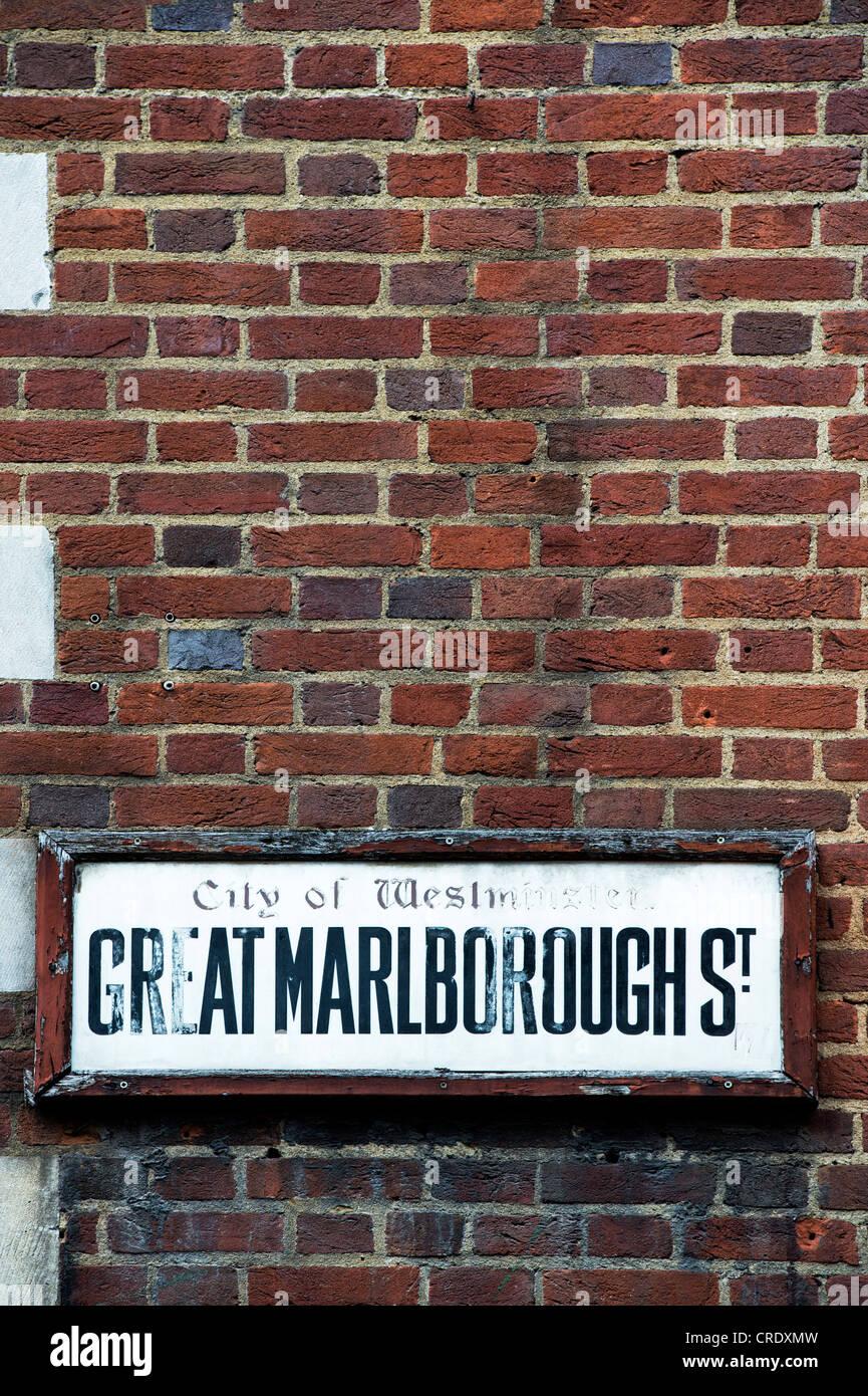 Old Great Marlborough street sign. London, England Stock Photo