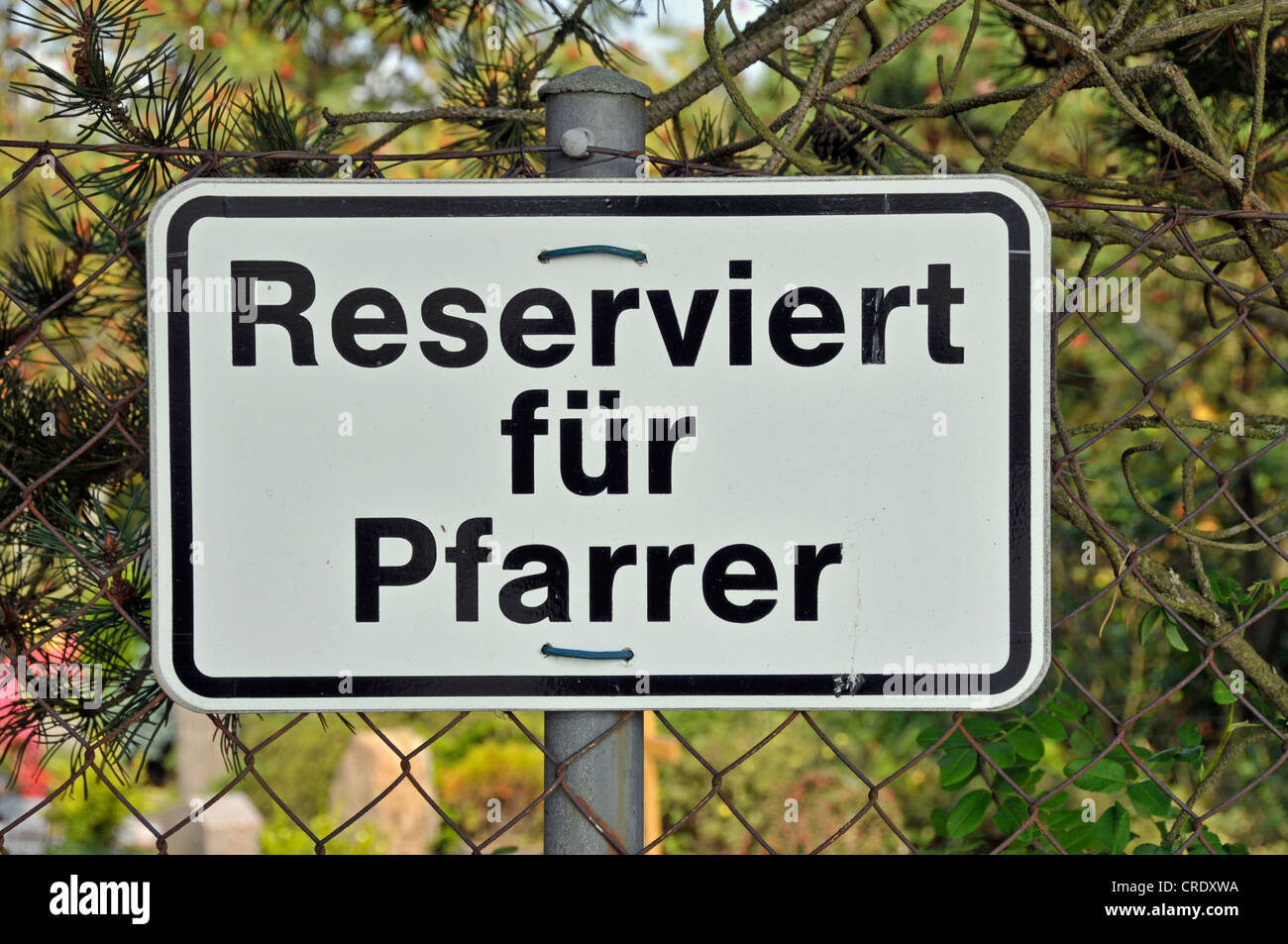 Sign, Reserviert fuer Pfarrer or reserved for pastors, parking ground, Swabian Alb, Germany, Europe, PublicGround - Stock Image