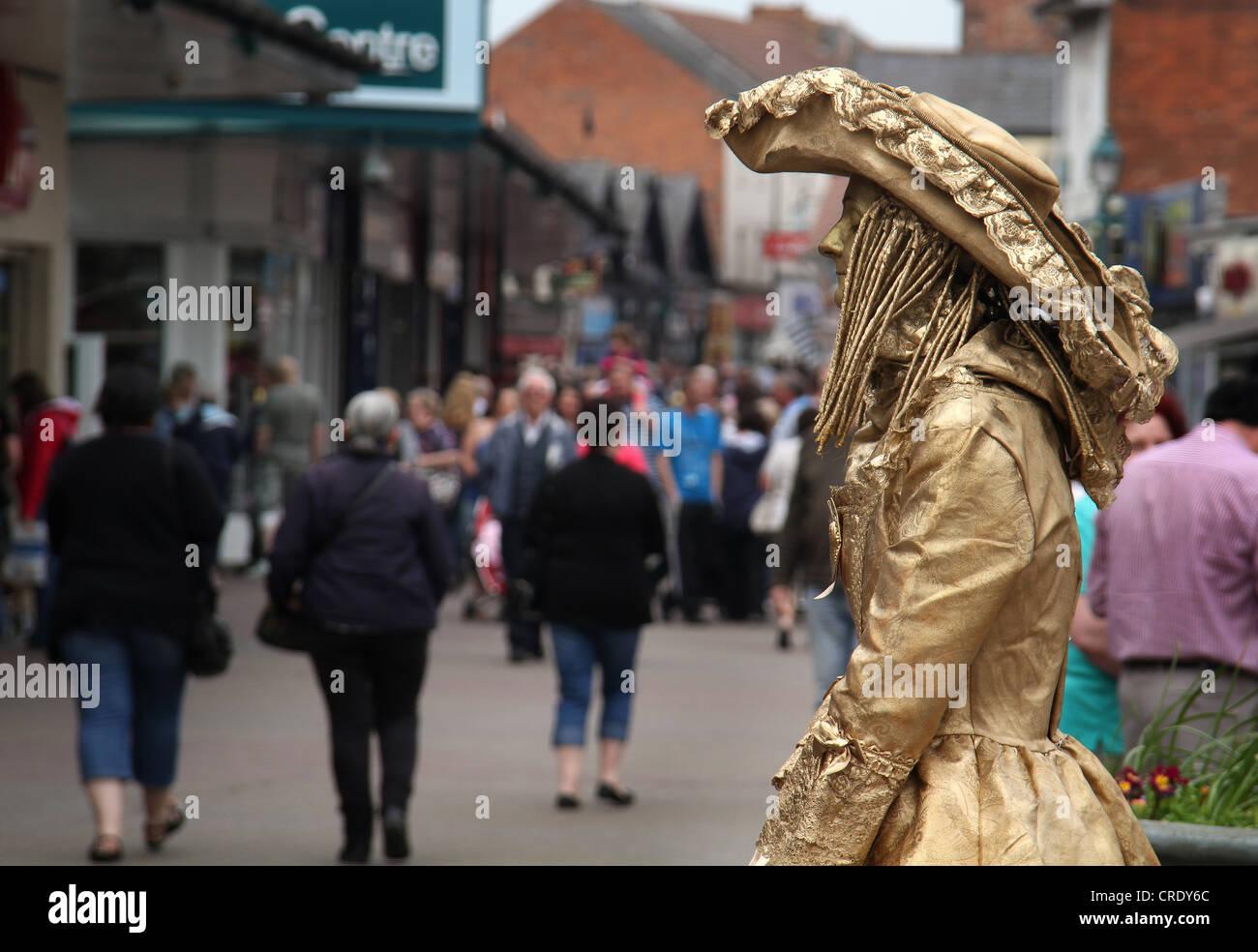 Street statue mime artist. - Stock Image