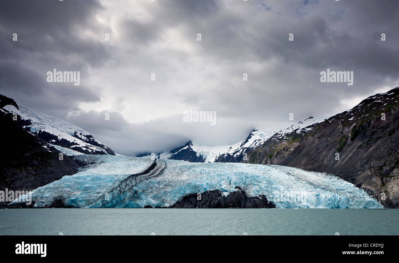 Portage Glacier on Portage Lake in the Chugach Mountains on the Kenai Peninsula near Anchorage, Alaska, USA - Stock Image