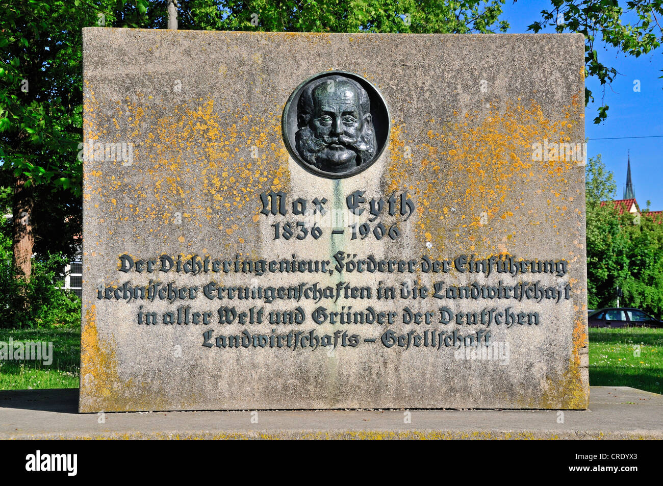 Max Eyth monument, Adlerbastei, this is where the 'Tailor of Ulm' started his flight test, Ulm, Baden-Wuerttemberg - Stock Image