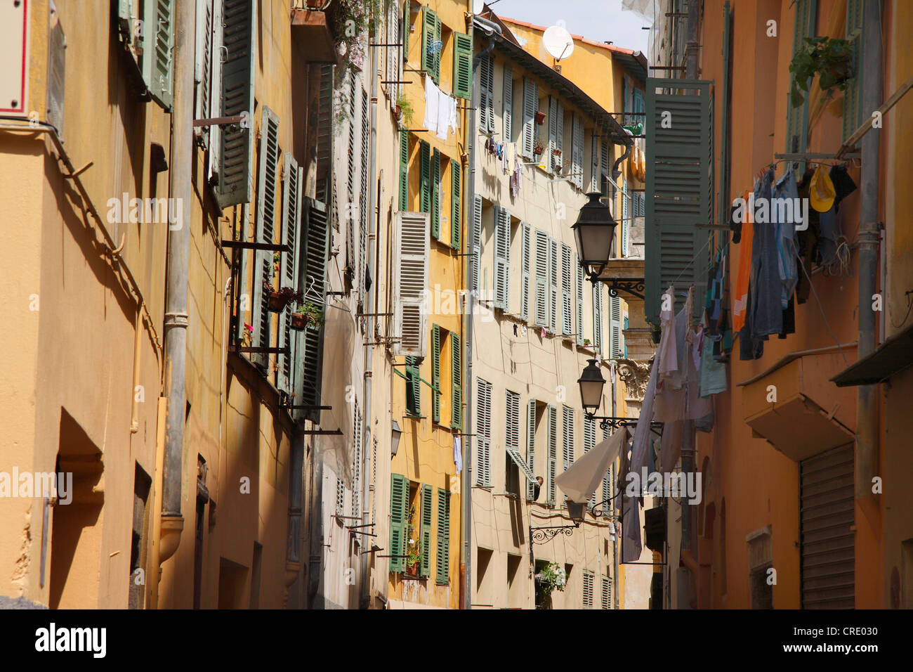 facades in old city of Nizza, France - Stock Image