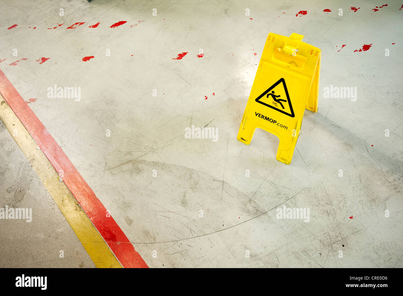 Caution slippery, VERMOP warning sign - Stock Image