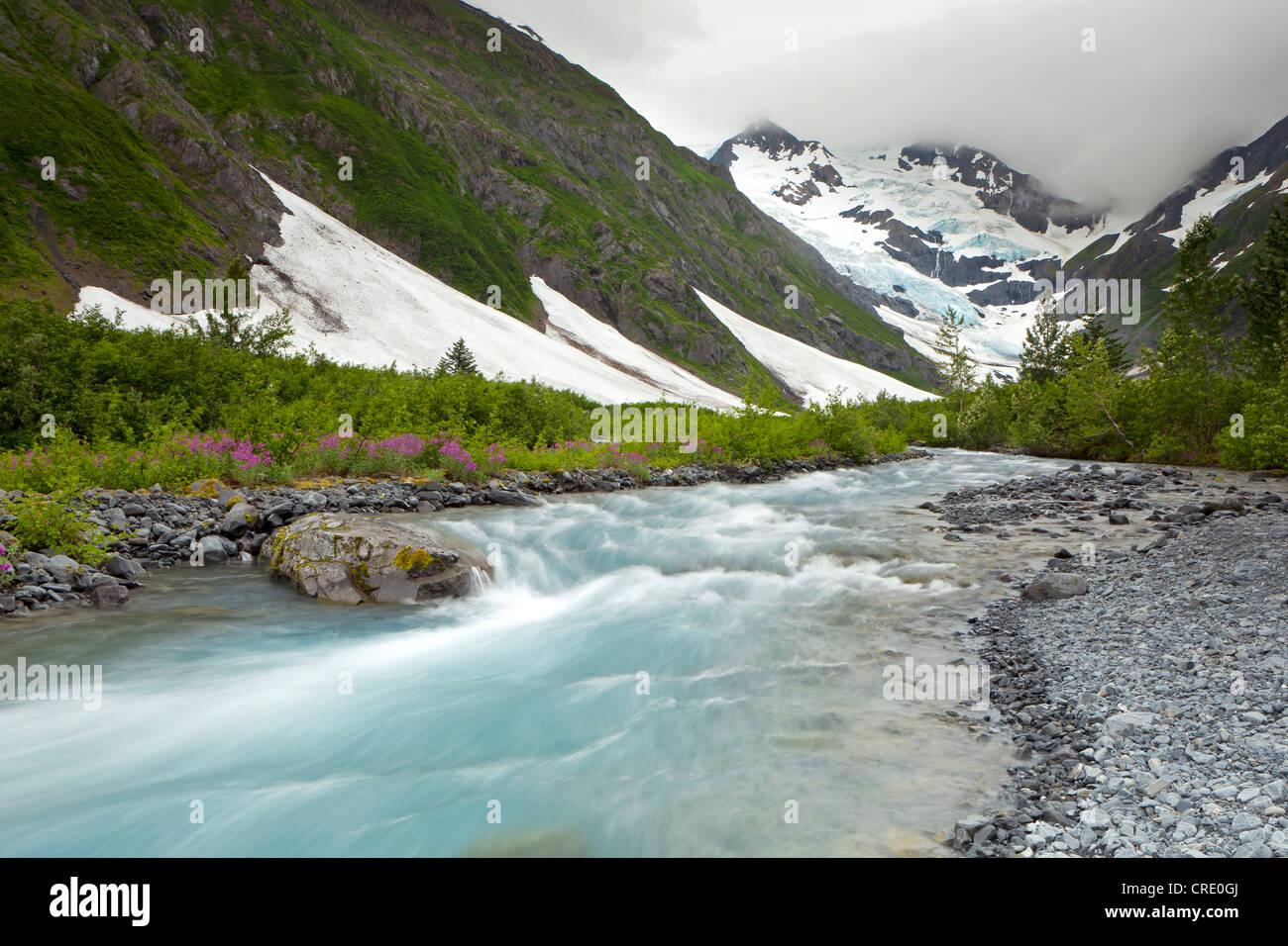 Byron Glacier and river near the Portage Glacier in the Chugach Mountains, Kenai Peninsula, Alaska, USA Stock Photo