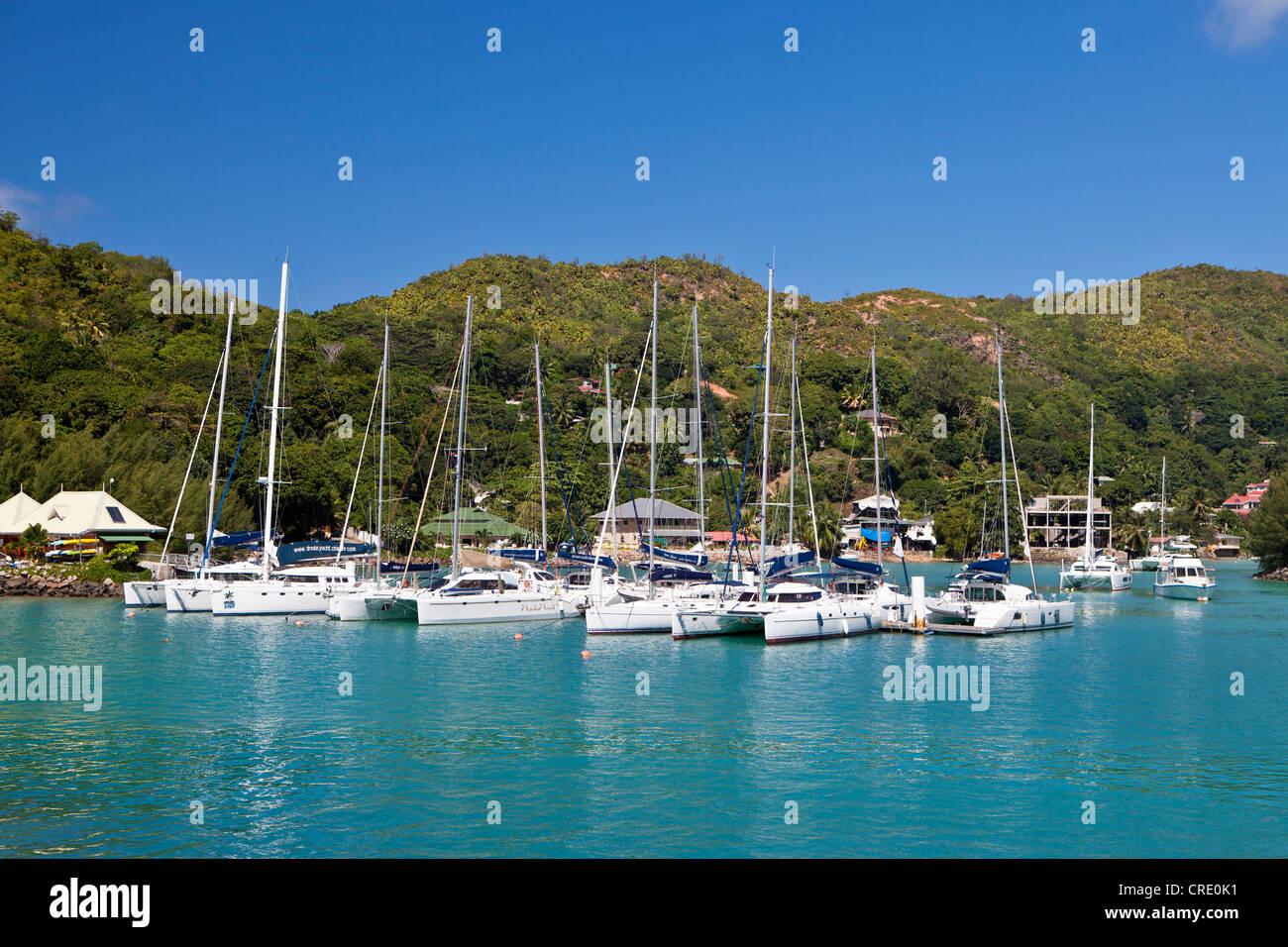 Marina of Praslin, Seychelles, Africa, Indian Ocean - Stock Image