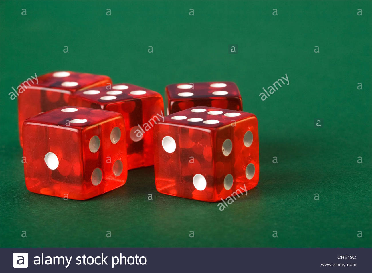 five dices with nineteen points - Stock Image
