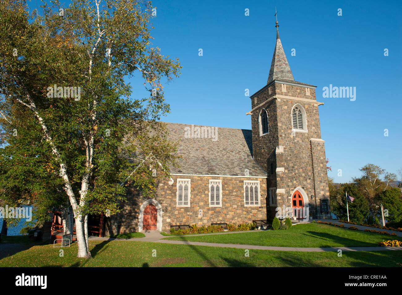 Adirondack Community Church, Methodist church at Mirror Lake, Lake Placid, New York, USA, North America - Stock Image