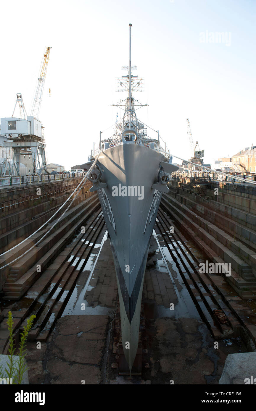 Ship in the harbour, bow of a museum ship, navy warship, the destroyer USS Cassin Young DD-793 in dry dock Stock Photo