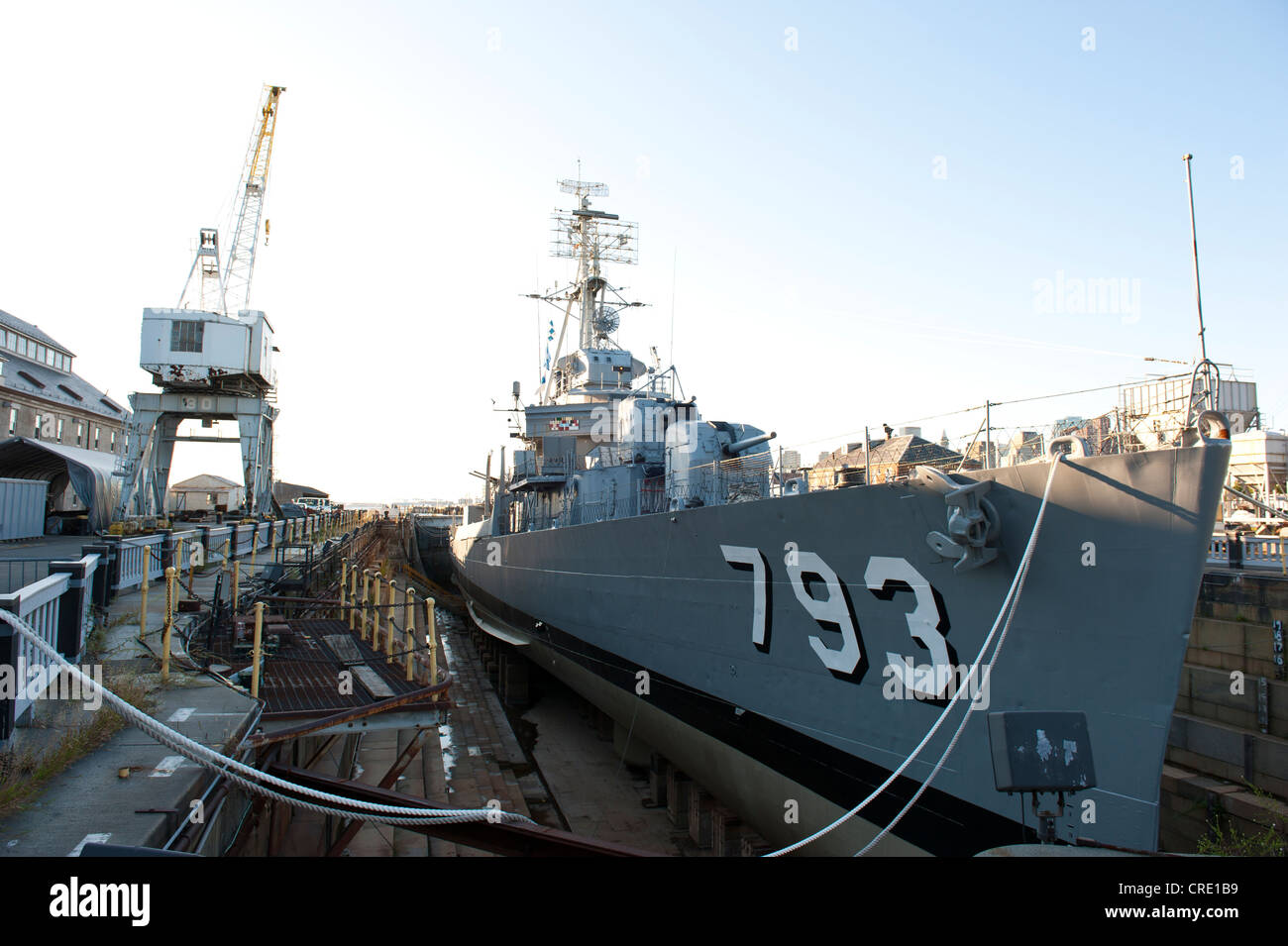 Ship in the harbour, museum ship, navy warship, the destroyer USS Cassin Young DD-793 in dry dock Stock Photo